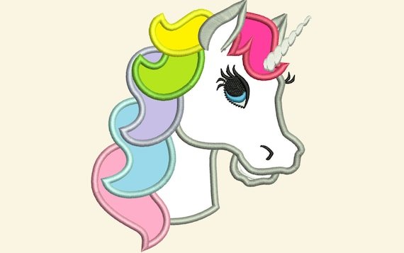Unicorn Head Applique Machine Embroidery Designs Applique