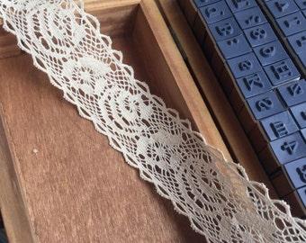 Sale 10 Yards Exquisite Beige Cotton Lace Trims 1.18 Inches Wide