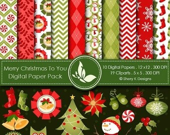 40% off Merry Christmas to You -10 Digital papers 12 x12 300 DPI - 19 Cliparts 5 x5 300 DPI
