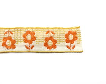 Vintage Orange Flowers Embroidered Trim
