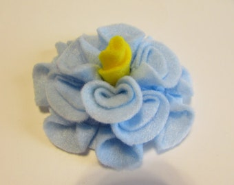 Add a Felt Flower with yellow center to any Sleep Mask or Neck Wrap- Light Blue
