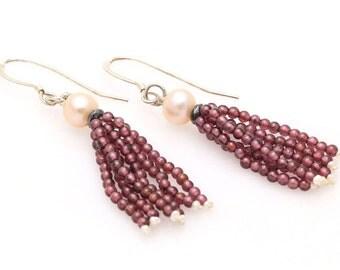 Garnet & Pearl Tassel Earrings