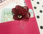Burgundy Organza Flower Planner Clip