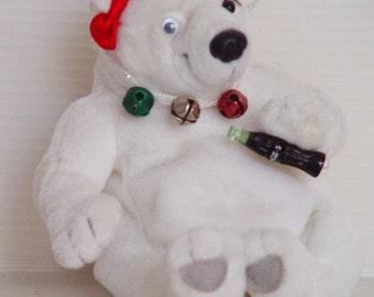 Vintage Polar Bear Toy-Upcycled Coca Cola Plush-Classic