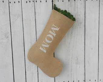 Mom stocking,personalized name stocking,burlap stocking