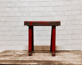 Vintage Industrial Stool | Red Metal | Plant Stand | Outdoors | Rusty | Patio | Industrial Kids'