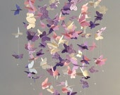 Butterfly Chandelier  Mobile, in purple and pink-mostly solid butterflies girl room mobile,nursery mobile,baby girl mobile,baby mobile