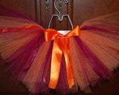 Orange and Maroon tutu, heart onesie with VT fabric