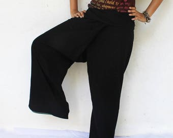 solid black and 1 pocket   Thai fisherman pants