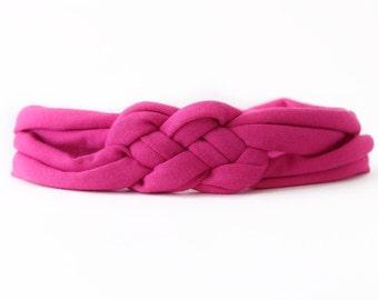 Pink Baby Headwrap - Pink Baby Headband - Jersey Baby Headwrap - Top Knot Headband - Fuchsia Newborn Headband - Turban Headband