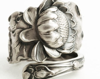 Lotus Flower Ring, Sterling Silver Spoon Ring, Pond Lily Ring, Pond Lilly, Lotus Flower Ring, Art Nouveau Ring, Adjustable Ring Size (1300)