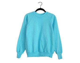 Vintage Blank Healthknit Teal Blue 50/50 Poly-Cotton Blend Crewneck Sweatshirt, Made in USA - Medium