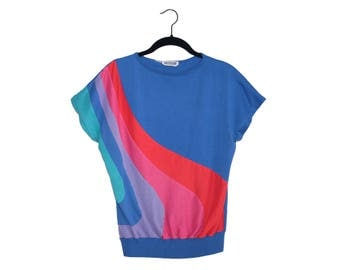 Vintage 80's Blue Swirl Rainbow Mariea Kim Stretchy Women's Top