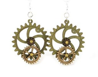 Gear Earrings that move - made from wood - hugo steampunk style - 5001C