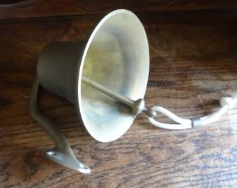 Vintage French Brass Ships Bell Door Dinner Alarm Knocker Ringing Outside Garden Doorbell circa 1980-90's / English Shop