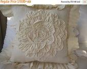 clearance sale Mandala pillow -Dahlia round flower pillow,ivory custom color- Linen ruffle pillow-euro SHAMs- shabby chic rose- decorative p