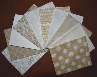Maven Fat Quarter Bundle of 10 in Cream & Tan by BasicGray for Moda