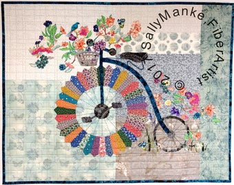 Big Wheel Bicycle Art Quilt - Floral Penny-Farthing Cycle - Quilted Wall Hanging - Vintage Bike - Fiber Art - Original Design - Office Decor