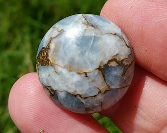 23mm round mojave blue calcite 23mm by 6mm