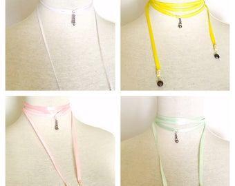 Easter ribbon choker, Swarovski pendant, adjustable, dainty, juvenile, item no. De419