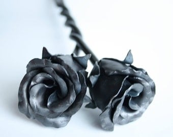Forever Love Unity Entwined Rose Buds Wedding gift Handmade Forged Iron Flower Steel 6th Anniversary Gift Mothers Day Valentine's
