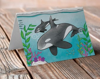 Two Orcas Greetings card