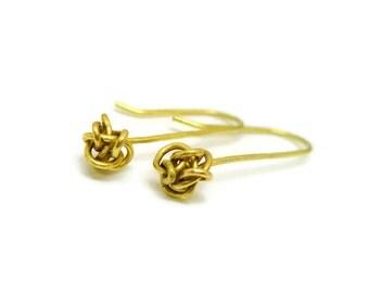 Medium Knot Gold Earrings - small, delicate, everyday earrings