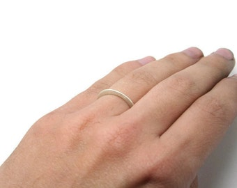 Delicate Silver Ring or Wedding Band - Thin, Forged, Tapering, Minimalist