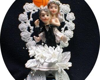 We SCORED Basket Ball Bride Groom Top Wedding Cake Topper Basketball sports Fun OR glasses, knife set guest Book