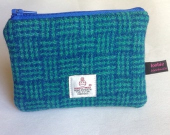 Harris Tweed jade and blue basketweave coin purse, zipped coin pouch, change purse, scottish gift, friend gift