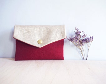 Sales 30% off - Little wallet made of red wool with an iridescent leather flap Marthe.