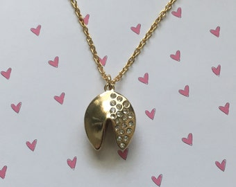 Adorable fortune cookie necklace