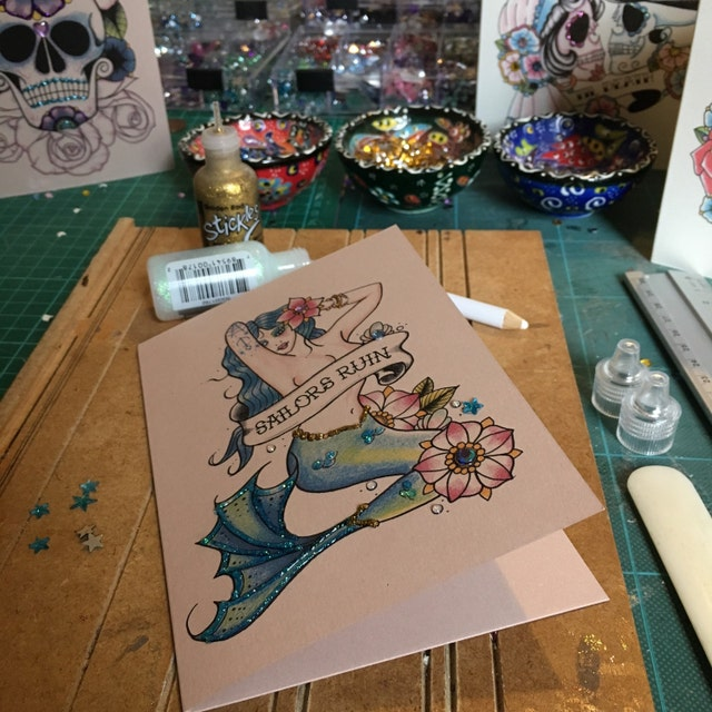 Tattoo Flash Handmade Cards Stationery And By