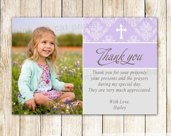 Girl Communion Thank You Card Girl First Communion Thank You Note Lavender Baptism Thank You Card With Photo Girl Christening Thank You Note