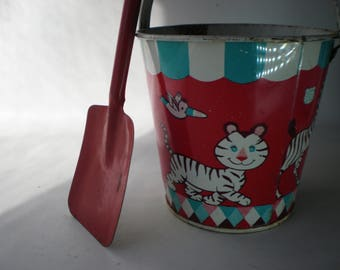 Vintage Tin Toy Bucket and Shovel