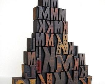40% OFF - Vintage Letterpress 30 Wooden Alphabet - 'K', 'L'' and 'M' Collection - LP69