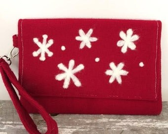 Red Felted White Snowflake Clutch Needle Handmade