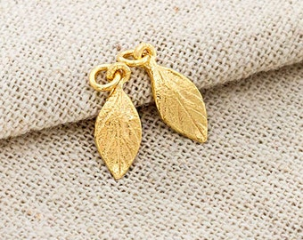 2 of 925 Sterling Silver 24k Gold Vermeil Style Leaf Charms 6x11 mm. , small leaf charms.    :vm0843
