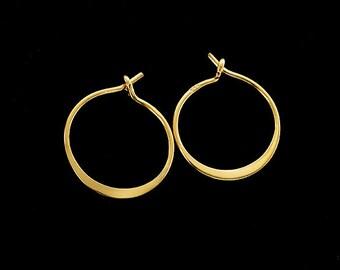 2 pairs of Sterling Silver 24k Gold Vermeil Style Hoop Earrings 15mm.  :vm0892