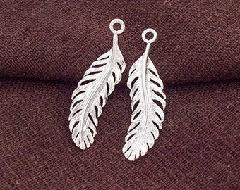 2 of 925 Sterling Silver Feather Charms  7.5x26 mm.  :th2570