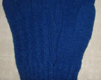 Men gloves- hand knitted, warm, blue