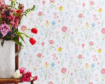 Sarah Jane Sommer Floral Plockade WALLPAPER - Removable, Re-usable, FABRIC, Eco-Friendly, Non-Toxic.  No Mess. No Glue Pop & Lolli