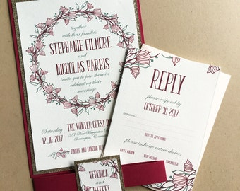 Art Nouveau Floral Wedding Invitations in Champagne, Pomegranate, and Sage