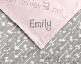 Baby Blanket - Gray Arrows Minky, Baby Pink Minky Smooth - BB1
