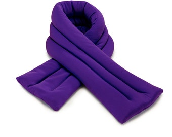 Purple  Neck Ice Wrap 6x24, Microwavable and Freezable, Hot and Cold Pack, Extra Long and Wide, Filled with Flax Seeds