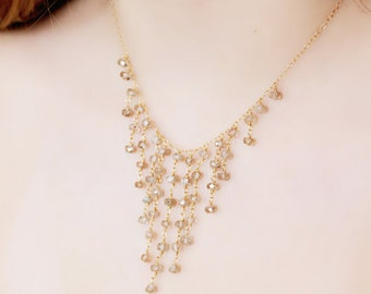 Cascading Natural Zircon Gem Stone Necklace