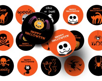 Halloween bottle cap images - Halloween 1 inch circles - Instant download - Halloween digital collage sheet - Printable planner stickers