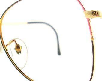 Vintage Gold Pink Eye Glasses Eyeglasses Sunglasses Frame Eyewear