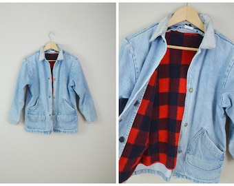 vintage 80s light wash denim plaid lined ll Bean denim chore coat -- mens xs small- unisex small