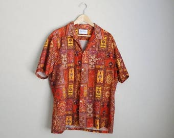Vacation SALE - 10% off - Vintage 70s Hawaiian Rai Nani Asian Ethnic Tiki Luau Shirt // mens xlarge
